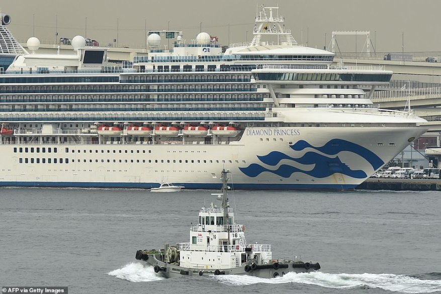 A British man who was on board the Diamond Princess cruise ship (pictured in Yokohama) has died after being infected with coronavirus, Japanese authorities confirmed today