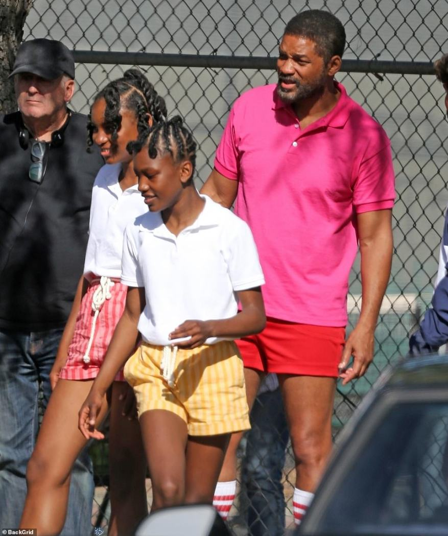First look:Will Smith was seen filming for the first time with his on-screen daughters, Saniyya Sidney, 13, and Demi Singleton, 12, who are portraying tennis superstars Venus and Serena Williams on Friday in Los Angeles.Smith is playing the girls' father in the biopic King Richard