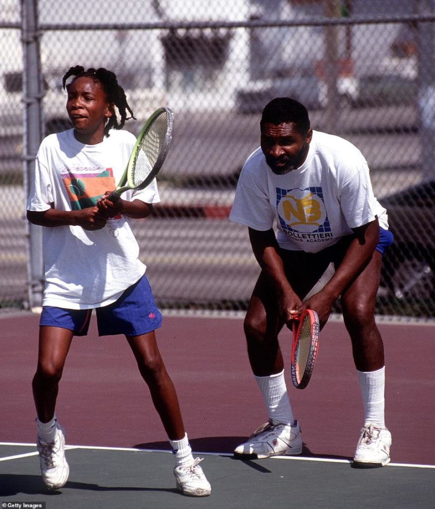 Raising legends: Richard Williams is pictured here with Venus in 1991