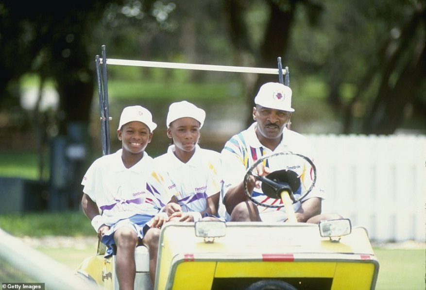 Training hard: The sisters are seen here taking a ride with their father at a tennis camp in Florida in 1992