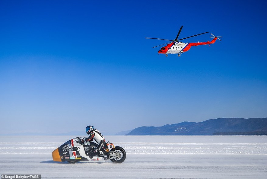 The competition this year saw a Mil Mi-171A2 medium twin-turbine helicopter (pictured racing a motorbike) set Russia's one-mile speed record of 167mph at the minimum altitude of 65.6 feet