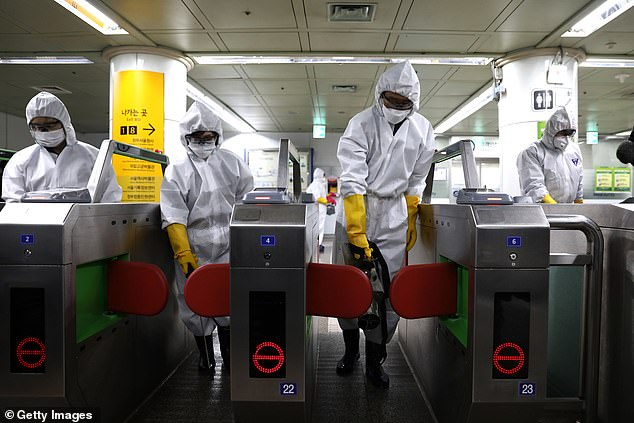 Every day has brought a chilling new development, with more than 84,000 people infected across the planet by last night. It feels like the stuff of some terrifying apocalyptic blockbuster (professionals are seen disinfecting a subway station in South Korea)