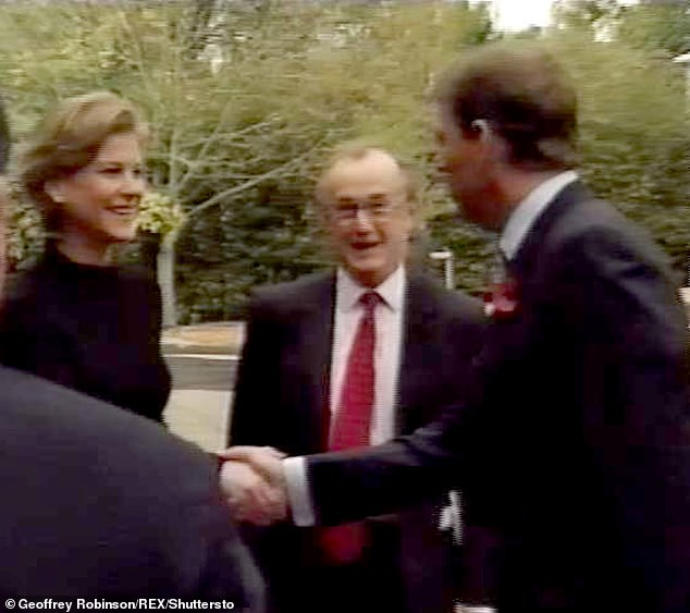 Prince Andrew greets Amanda Staveley in Cambridge in November 2001 at one of her business ventures - Q.ton, a health club, gym, restaurant and conference centre. The Prince was escorting King Abdullah of Jordan on a fact-finding mission of the area when he met her