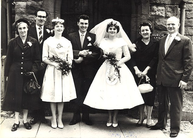 Gill and Richard Moran on their wedding day in September 1959. From left, Mrs Annie Hawe (Richard's foster mother) Mr George Wheeler (best man) Barbara D'Arnault (Gill's sister) Richard, Gill