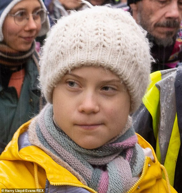 Swedish environmental activist Greta Thunberg, 17, is seen in Bristol for the Youth 4 Climate strike earlier this month.