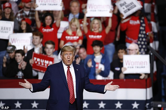 President Donald Trump said Democrat criticism of the White House response to coronavirus is 'a new hoax intended to undermine his leadership'. Pictured: Trumparrives to speak at a campaign rally in North Charleston
