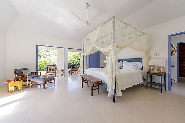 The couple flew out to Mustique on Boxing Day last year - where Mr Johnson is said to have proposed - and stayed for ten days at their hideaway (pictured), which boasts four-poster beds, open terraces and an infinity pool