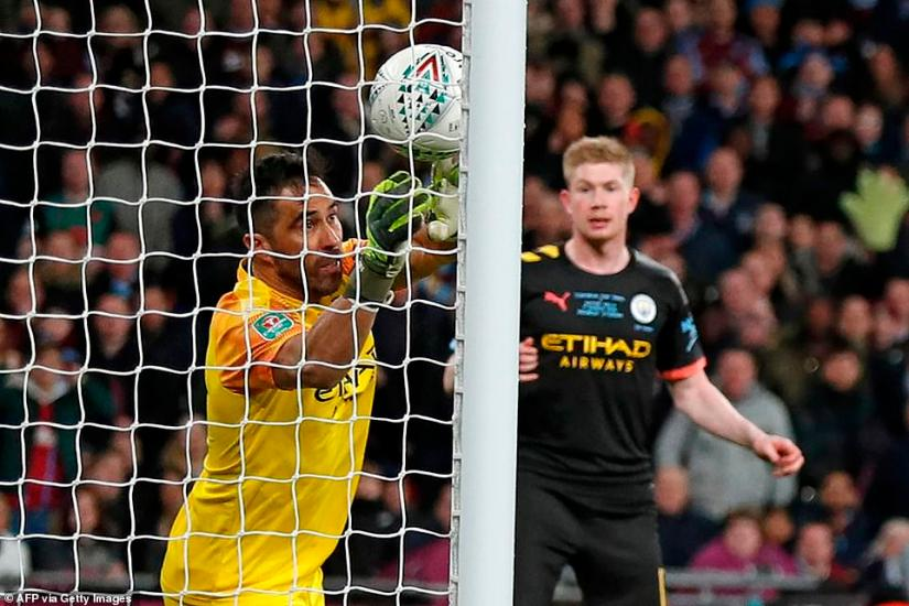 Bravo managed to claw his right hand onto the ball, with the rebound hitting the post and City eventually cleared their lines