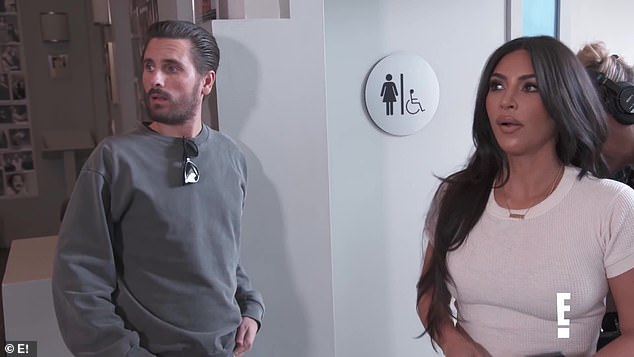 Outside his comfort zone:In a recent trailer for Keeping Up With The Kardashians, Scott was filmed with Kim Kardashian as the two took an improv class