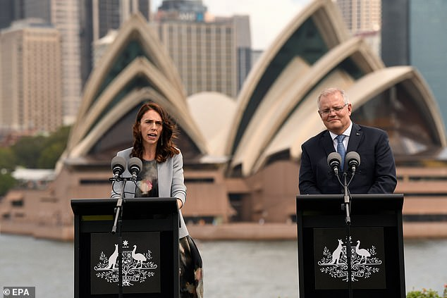 Pictured: Ms Ardern and Scott Morrison during a joint conference in February 2020, where they discussed Australia's stance on deportation