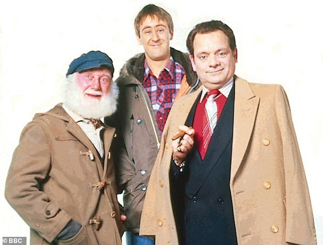 Classic comedy: The show concluded on Christmas Day 2003 with the episode Sleepless In Peckham, which drew in 16.37 million viewers [pictured with Sir David and Nicholas is Buster Merryfield who played Uncle Albert from 1984-1999]