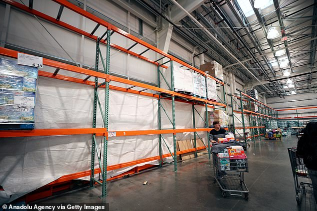 Empty shelves were seen at supermarkets in New York as fear of the spread of coronavirus gripped the city