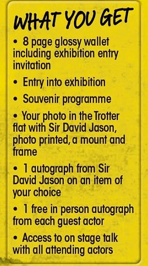 What you get: The event marks the first time Sir David has attended an Only Fools And Horses convention