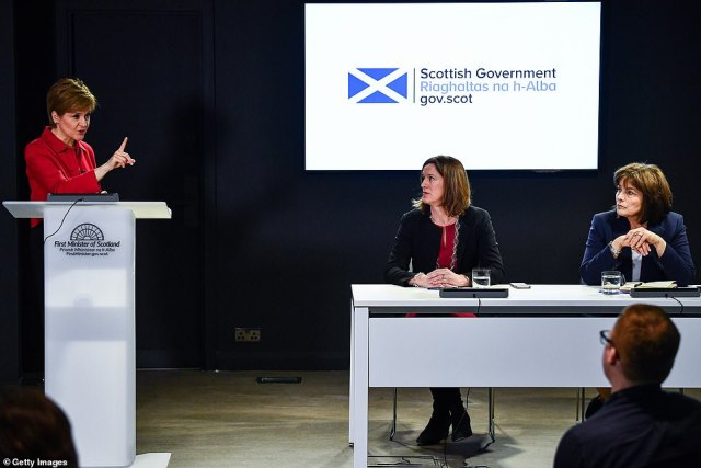 Nicola Sturgeon (pictured at Edinburgh press conference) who phoned in to yesterday's meeting of the Government's Cobra meeting, revealed that experts believe that in a 'realistic worst-case' outcome, 50-80 per cent of Scots could catch the virus in the coming months