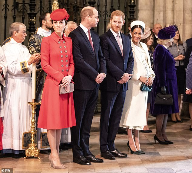 The Duke and Duchess of Cambridge (left) with the Duke and Duchess of Sussex (right) as they attended the Commonwealth Service at Westminster Abbey last year