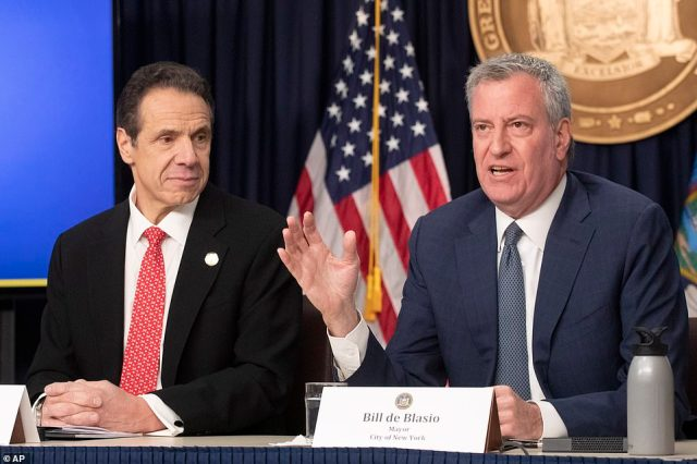 New York Governor Andrew Cuomo revealed that community spread is 'inevitable' on Monday as he and Mayor Bill de Blasio vowedto increase testing in the city to up to a thousand people a day by next week