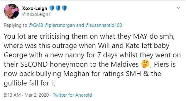 Social media users criticised Piers Morgan today after his comments about Meghan leaving baby Archie on his own