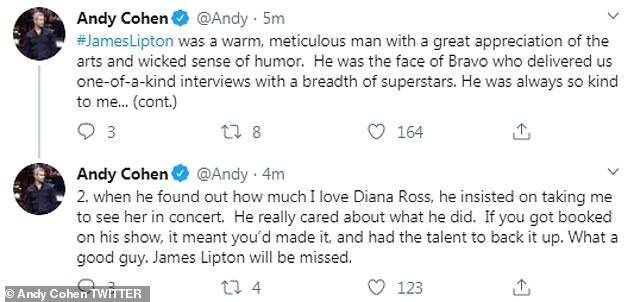 Tribute@ Bravo's Andy Cohen shared his appreciation for Lipton