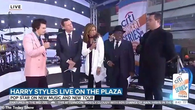Moving on: 'I'm okay, thanks, thank you. Thanks for asking', the singer told host Carson Daly (far right) while promoting his upcoming Love On Tour