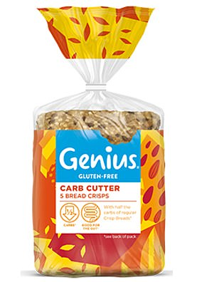 Genius Gluten-Free Carb Cutter Bread Crisps are made with oats, seeds and chicory root inulin