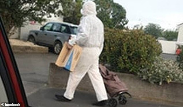 The cautious shopper (pictured) was missing gloves during his trip to the shops