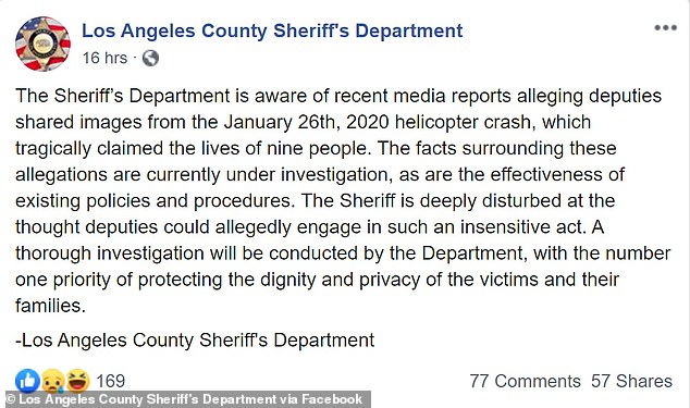 A tweet from the sheriff's office acknowledges the deputies took the images and that the sheriff was 'deeply disturbed' they engaged in such an 'insensitive act'