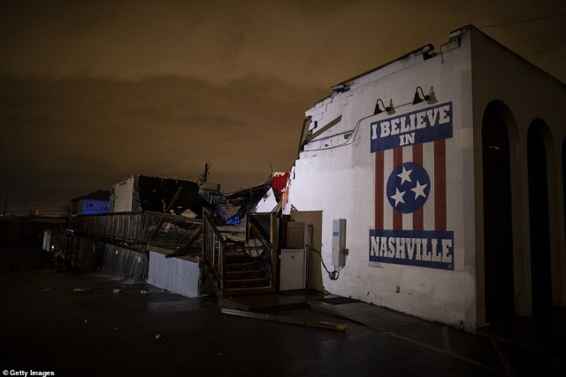 A mural on the heavily damaged The Basement East in the East Nashville neighborhood today in Nashville, Tennessee