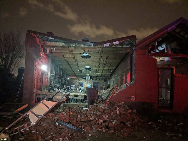 The Geist restaurant brick wall collapsed in the tornado that touched down in downtown Nashville, Tennessee on Tuesday