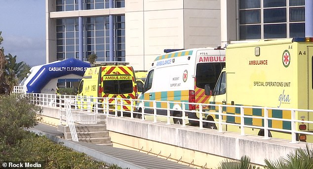 Pictured, the hospital in Gibraltar where the coronavirus patient is thought to have went