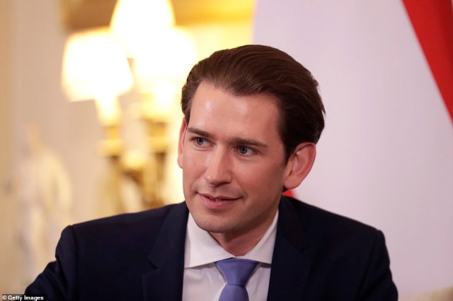 Kurz (pictured last week in London) urged EU leaders to secure the border and not risk a repeat of the 2015 crisis when more than a million migrants arrived on the continent