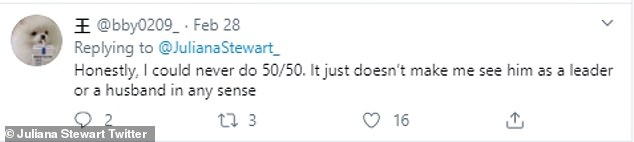 Slamming the concept of sharing bills, one Twitter user wrote: 'Honestly, I could never do 50/50. It just doesn't make me see him as a leader or a husband in any sense'