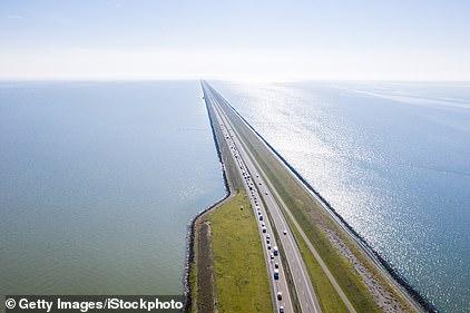 Afsluitdijk, a major dam and causeway in the Netherlands, runs from Den Oever in North Holland to Zurich village in Friesland