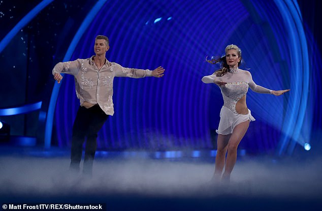 Caprice is pictured on Dancing On Ice in January with her skating partner Hamish Gaman
