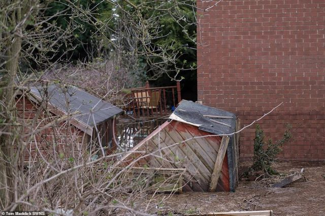 Flooding damage around a house in the village of Snaith in East Yorkshire today