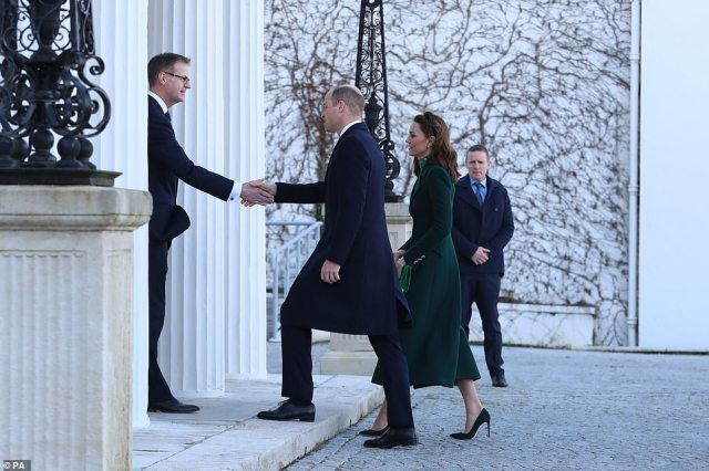 William and Kate were greeted warmly at the front door by Mr Art O'Leary, who serves as the Secretary General to the President