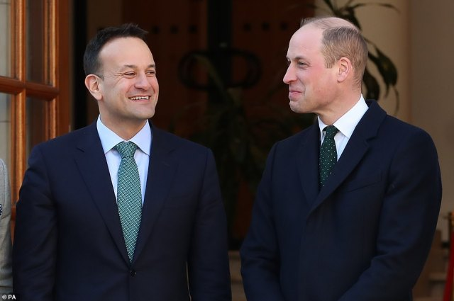 The Duke of Cambridge meets with Leo Varadkar, Taoiseach of Ireland, at the Government Buildings, Dublin, during his three day visit to the Republic of Ireland