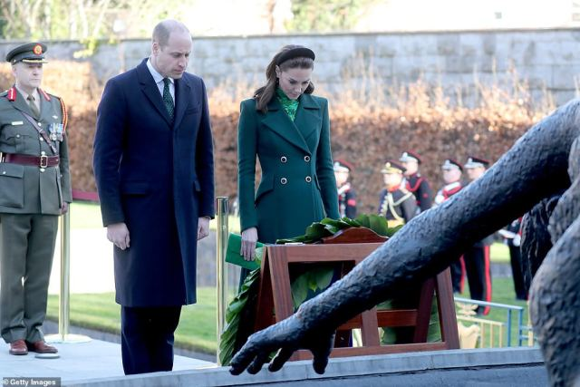 Prince William, Duke of Cambridge and Catherine, Duchess of Cambridge attend a commemorative wreath laying ceremony in the Garden of Remembrance at Aras an Uachtarain during day one of their visit to Ireland