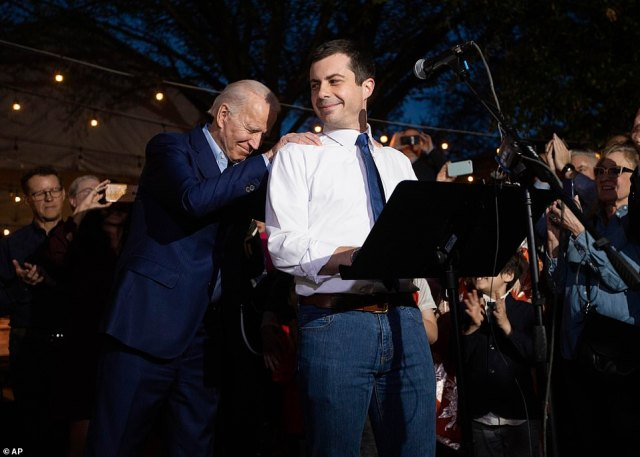 Biden, according to FiveThirtyEight.com , now has a better chance than Sanders of winning seven states, including Texas where Biden campaigned Monday night and received a trio of endorsements from former presidential hopefuls Pete Buttigieg (pictured with Biden on Monday night in Dallas), Amy Klobuchar and Beto O'Rourke