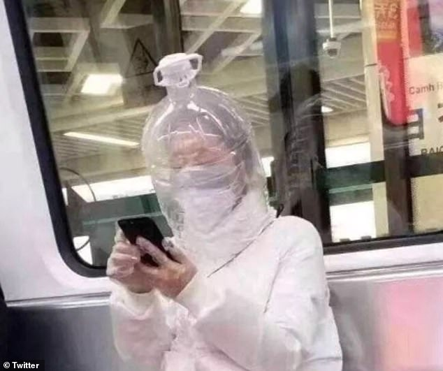 Similarly, another woman had the same idea but also uses a plastic body, mouth and hands covering when on public transport in China