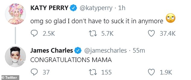 James congrats: Youtuber and makeup artist James Charles also responded to the same tweet, stating, 'CONGRATULATIONS MAMA'