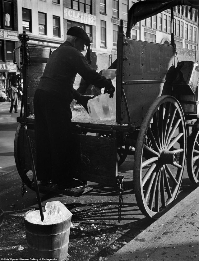 Before there were refrigerators, there were the ice men who delivered the good out of carts, wagons and trucks. In the 19th and part of the 20th century, blocks of ice cut from place such as ponds and streams eventually made their way to cities. The business started in the early 1800s in New England and the commodity was kept in places called 'ice houses.' Above, the bygone profession in an image titled The Iceman, New York City, 1947.