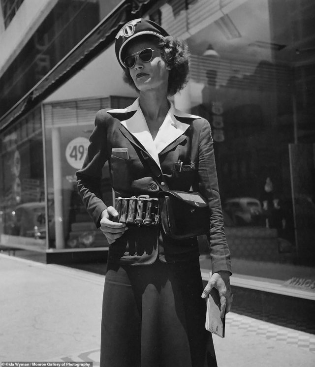 This photo titled 'The Transette' was taken in San Antonio, Texas in 1948. Wyman snapped this image of a glamorous ticket agent for the local bus service while on assignment.