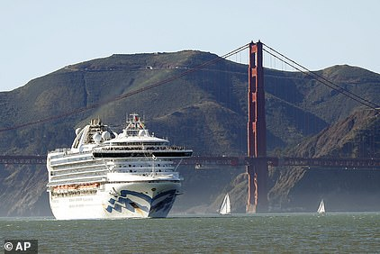 The Grand Princess cruise ship passes the Golden Gate Bridge as it arrives from Hawaii in San Francisco. Twenty-one people on board have tested positive foe the coronavirus