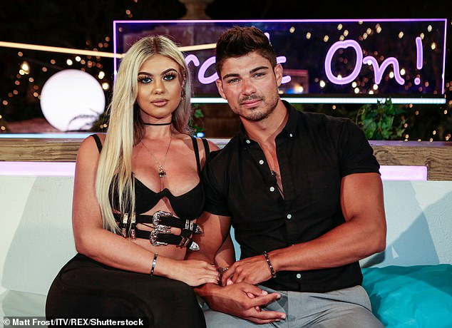 Former flames: Belle and Anton (pictured together)left Love Island in a couple but the pair split just five weeks after exiting the villa