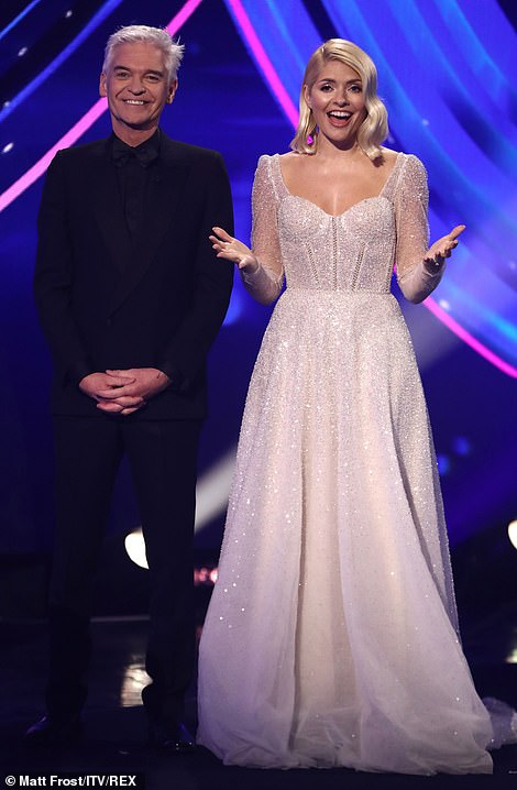 The big finish! Host Holly Willoughby wowed in a sparkling dress, looked to be inspired by Disney's Frozen and a bridal gown
