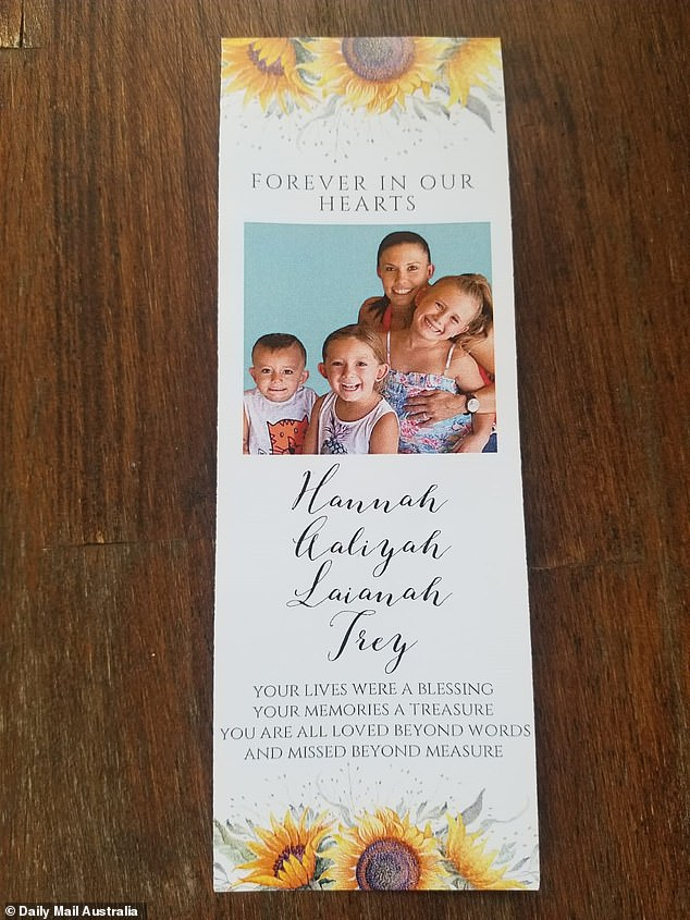 Mourners were given a memorial card with Hannah and the children's smiling faces