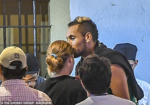 Nick Kyrgios (pictured, right) planted a kiss on the forehead of female tennis player Anna Kalinskaya in Mexico in February after retiring injured from the Mexican Open