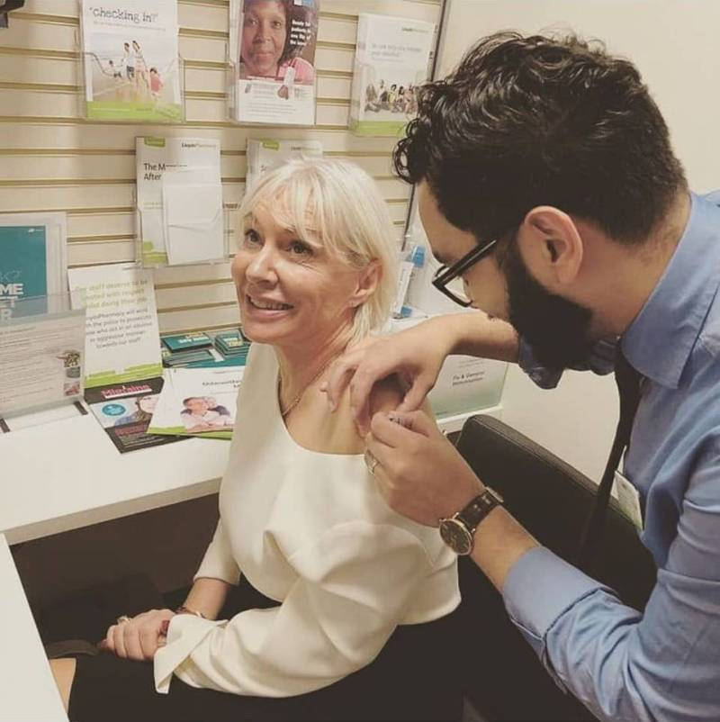 Nadine Dorries getting a flu jab last November as part of a campaign to encourage people to remember to get vaccinated