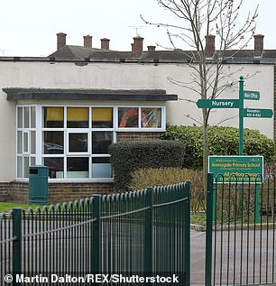 Schools and universities could close and students be told to work at home (Pictured, Bonnygate Primary School in Essex closed last week because of a coronavirus case)