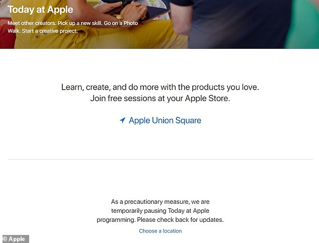 In the US, Canada, Mexico and Brazil, meanwhile, the arrival of coronavirus outbreak has now prompted Apple to suspend all 'Today at Apple' display sessions